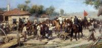 Русские кавалеристы освобождают балканскую деревню от турков..jpg