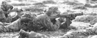 On East Falkland in 1982, men of 2 Para re-zero their SLRs on a make-shift range..jpg